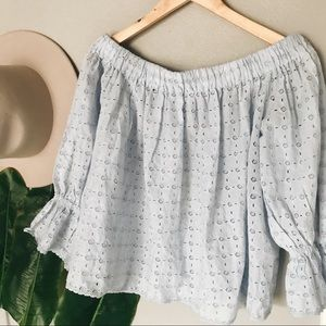 NWT Lucky Brand Eyelet Off Shoulder Top